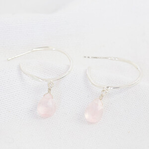 October Rose Quartz Pink Hoop Earrings in Sterling silver
