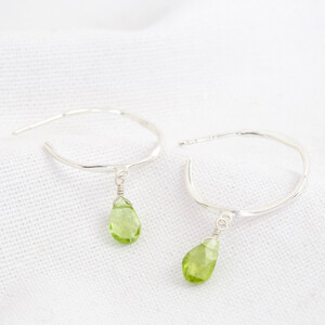 August Peridot Green Hoop Earrings in Sterling silver