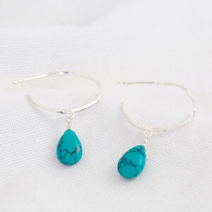 December Turquise Hoop Earrings in Sterling silver