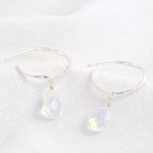 April Glass Opal Hoop Earrings in Sterling silver