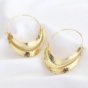 Hammered Half Moon Statemnet Hoop Earrings In Gold