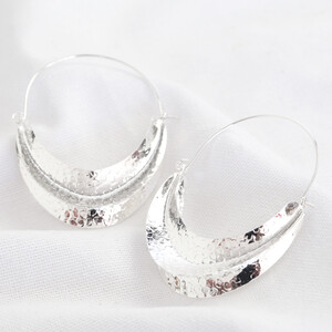 Hammered Half Moon Statemnet Hoop Earrings In silver