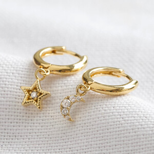 Moon and star gold huggies