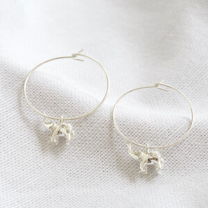 Hoop elephant earrings in Silver