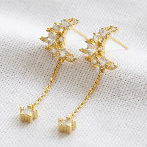 Moon and star dangly chain earrings