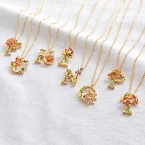 Floral Alphabet Necklace - D