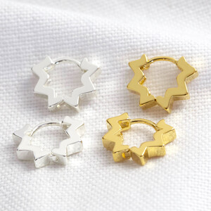 Star Huggie Hoop Earrings in Gold