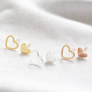 Sterling silver mismatch heart stud earrings