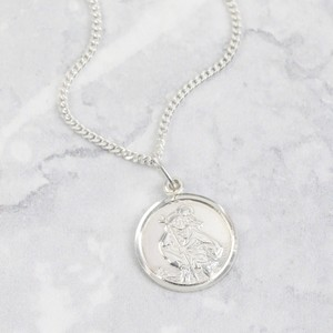 Round Sterling Silver St Christopher Charm Necklace- Small