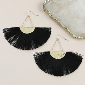 Black Tassel Fan Drop Earrings