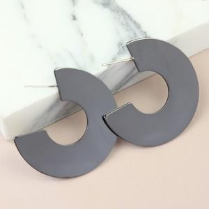 Metallic Black Wide Hoop Earrings