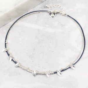 Blue Leather and Silver Leaf Charms Anklet