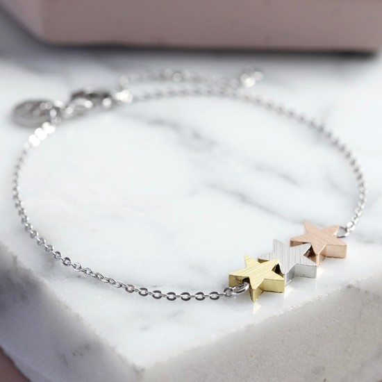 Brushed Mixed Metal Triple Star Bracelet