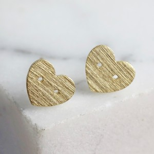 Button Heart Stud Earrings in Gold