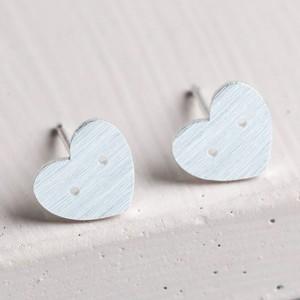 Button Heart Stud Earrings in Silver