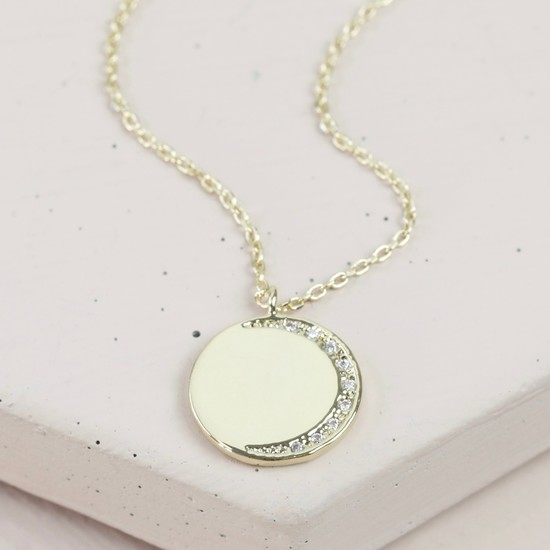 Clear cz Stone Moon Disc Necklace In Gold