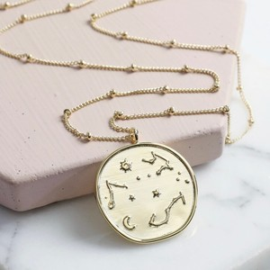 Constellation Disc Pendant Necklace in Gold