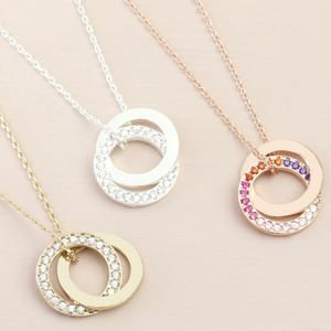 Clear CZ stone Interlocking Circle Necklace In Silver