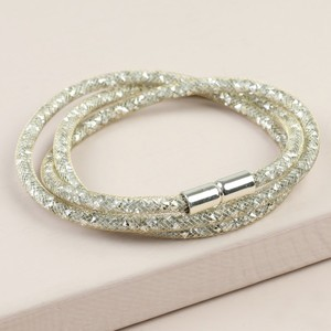 Shiny Gold Crystal Mesh Wrap Bracelet