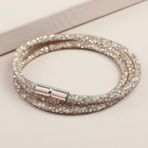 Shiny Rose Gold  Crystal Mesh Wrap Bracelet