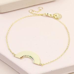 Gold Mixed Colour CZ stone Rainbow Shape Bracelet