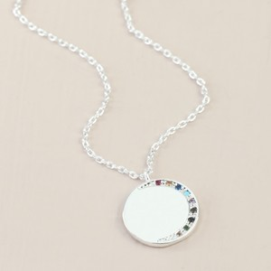 Rainbow CZ stones Moon Disc Necklace In Silver