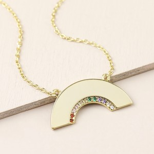 Gold Mixed Colour CZ stone Rainbow Shape Necklace