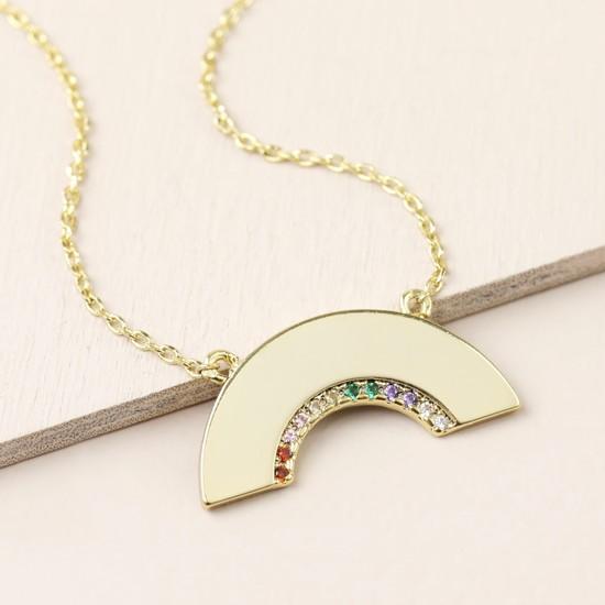 Gold Mixed Colour CZ stone Rainbow Shape Necklace