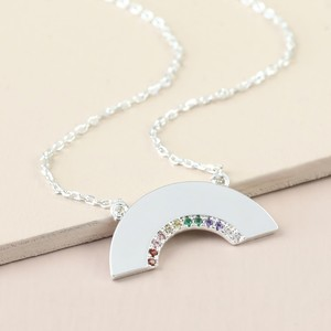 Crystal Rainbow Necklace in Silver
