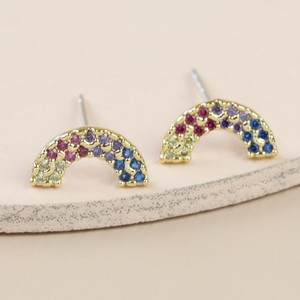 Gold Mixed Colour CZ stone Rainbow Shape Stud Earrings