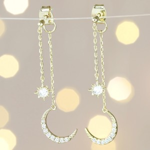 Sparkly Star and Moon Dangly Earrings in Gold