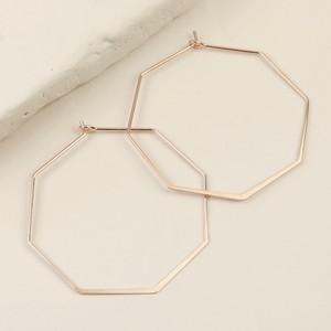 Rose Gold Octagonal hoop Earrings