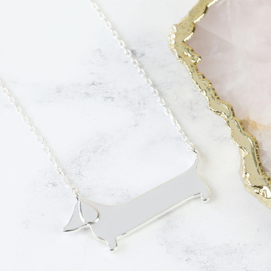 Flat Sausage Dog Necklace in Silver