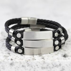 Men's Brushed Bar Black Leather bracelet in Large