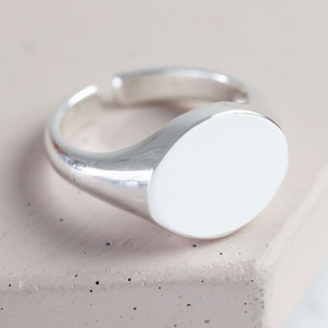 Shiny Silver Oval Signature Ring