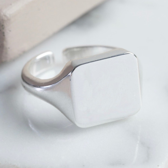 Square Signet Ring in Silver