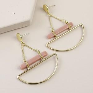 Geometric Pink Stone Bar Drop Stud Earrings