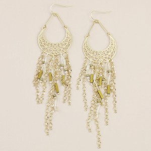 Gold Beaded Tassel and Chain Drop Earrings
