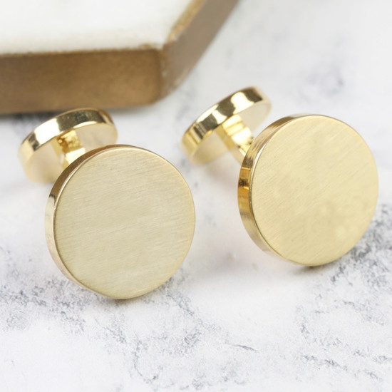 Gold  Brushed Double Disc Cufflinks