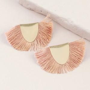 Gold Half Circle Tassel Stud Earrings in Dusky Pink