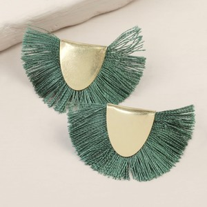 Gold Half Circle Tassel Stud Earrings in Green
