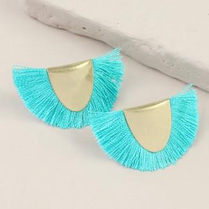 Gold Half Circle Tassel Stud Earrings in Teal