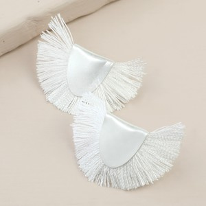 Silver Half Circle Tassel Stud Earrings in White