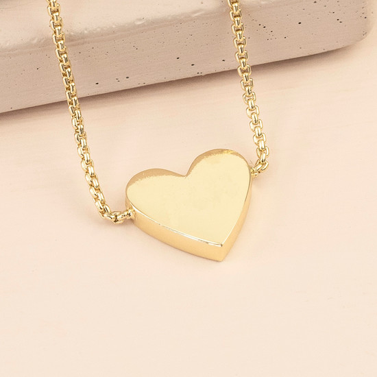 Box Chain and Heart Pendant Necklace - Gold