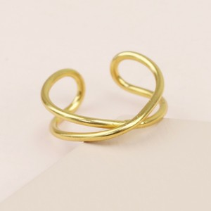 Sterling Silver Curved Cross Ear Cuff in Gold