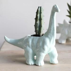 Green Diplodocus Dinosaur Planter