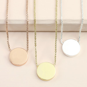 Box Chain and Disc Pendant Necklace - Silver
