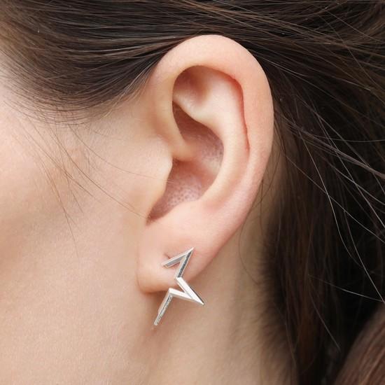 Half Star Stud Earrings in Silver