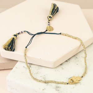 Hamsa Hand gold beaded metalic Tassel Bracelet