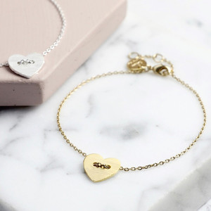 Gold  Button Heart Bracelet